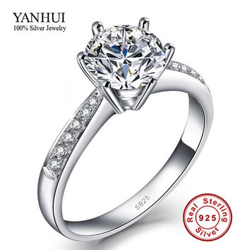 Size 4!!! Fine Jewelry Genuine  925 Sterling  Rings for Women Luxury 1 Carat CZ Diamond Engagement Ring JZR031