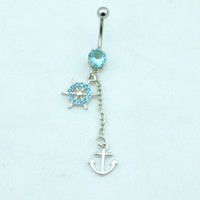 Rhinestone Navel Belly Bar Button Rings Anchor Dangle Barbell Body Piercing