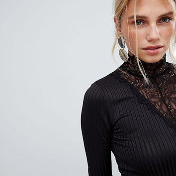 Y.A.S long sleeve ribbed jersey top with high neck lace detail at asos.com