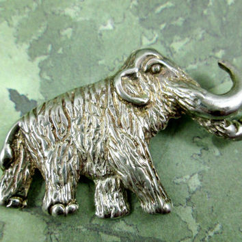 Wonderful Vintage Wooly Mammoth Pin Brooch Taxco Mexico 925 TN-90 Sterling Silver Solid Piece Well Made Lots of Detail