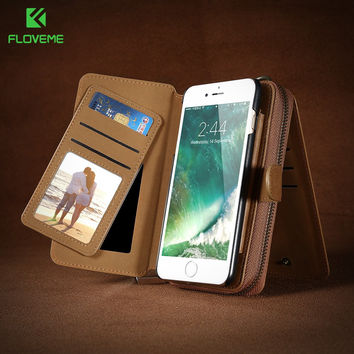 FLOVEME Phone Bag Case For iPhone 7 6 6S Plus Wallet Pouch For Samsung Galaxy S8 Plus S6 S7 Edge Note 5 Cases For Huawei Mate 9