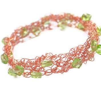 Wire crocheted bangle wrapped copper metal jewelry cuff bracelet Green Beads Luxe style