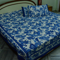 Blue Cotton Bedspread Queen Bed Sheet Hand Block Printed Floral Bed Cover Indian Bedding With Pillow Covers Ethnic Bed Sheet Sanganer India