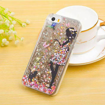 Beautiful Girl Hot Glitter Dynamic Quicksand Bling Star Phone Hard Back Cover Phone Case For iPhone 4 4S 5 5S 6 6S 6Plus 6SPlus