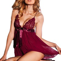 iB-iP Womens Pleated Lace Strap Mini Babydoll Lingerie, Burgundy