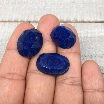 3pcs,9.3g,18mm-21mm High-Grade Natural Oval Facetted Lapis Lazuli Cabochon,CP233