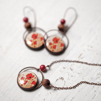 Red Poppy Jewelry set - Earrings and Necklace (S024)