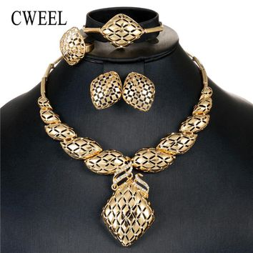 CWEEL Jewelry Sets For Women Wedding Dubai Bridal African Beads Jewelry Set Necklace Earrings Nigerian Bead Costume Jewellery
