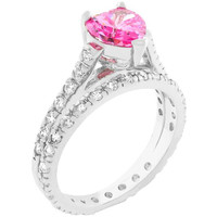 Pink Heart Cubic Zirconia Ring Set, size : 09