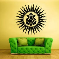 Wall Vinyl Sticker Decals Decor Art Bedroom Design Mural Ganesh Om Elephant Lord Hindu Success Sun Buddha India (z1967)