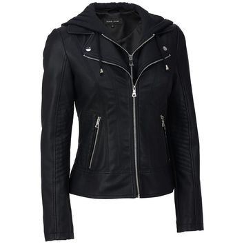 Black Rivet Black Rivet Womens Plus Size Faux-Leather Center Zip Jacket W/Cable Knit Hood