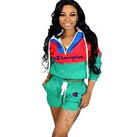 Champion Fashion New Embroidery Letter Long Sleeve Top And Shorts Sports Leisure Two Piece Suit Green