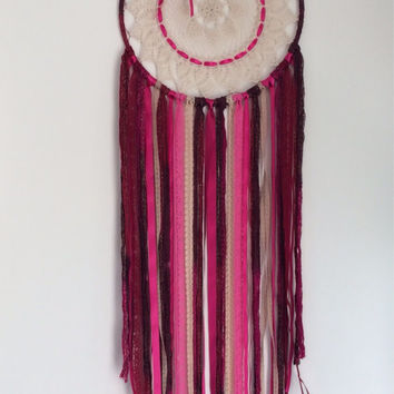Large dreamcatcher Red, Pink and Beige