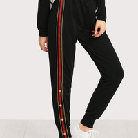 Button And Striped Side Sweatpants -SheIn(Sheinside)