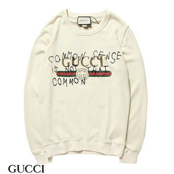 KUYOU G008 Gucci Round neck Logo fur collar sweater Apricot