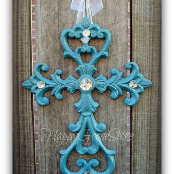Iron & Rhinestones Wall Hanging Cross - Country Blue (or your choice of color)