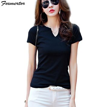 Foxmertor T-shirt Women 2018 Autumn Cotton Female T Shirts V-Neck Solid Striped Tops Casual Basic Lady Tees Plus Size 3XL F600
