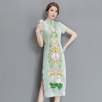 Fashion National Style Women Dress Vintage Embroider Short Sleeve Improved Qipao Dresses High Quality Female Long Party Dress