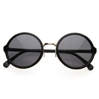 zeroUV - Vintage Inspired Classic Round Circle Sunglasses w/ Metal Bridge (Black-Gold/Green)