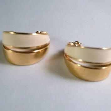 Vintage Monet Enamel White Gold Tone Hoop Earrings Costume 1980s