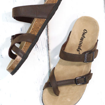 Toe Strap Bork Slide On Sandals Leather Look {Brown}