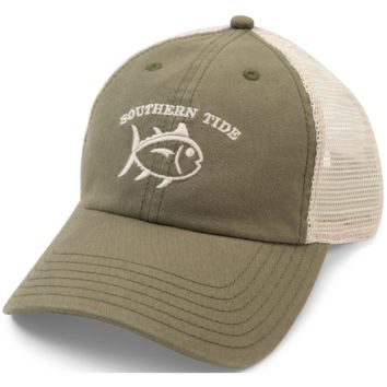 Southern Tide Washed Trucker Hat - Olive