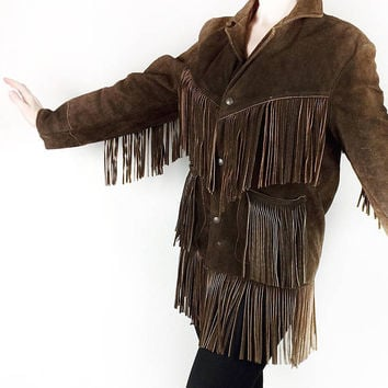 Fringe Leather Jacket Vintage Brown Suede Coat - Size Small