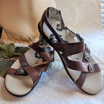 Propet Brown Leather Womens Sandal W0319 Size 7B