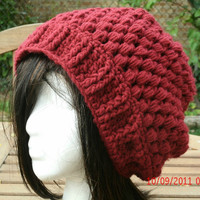 CIJ - Hand Crocheted Hat - The Puff Slouch in Cranberry - Slouchy Hat - Christmas in July