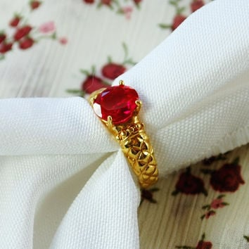 Vintage Cocktail Ring, Cherry Red, Rhinestone / Glass Crystal, 14K Gold Plated Band, Designer LIND, 1950s Mad Men, Statement Costume Jewelry