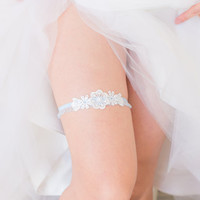 Something Blue - Wedding Garter Set, Wedding Garter, White Lace, Blue lace band, Bridal Shower Gift, Lingerie