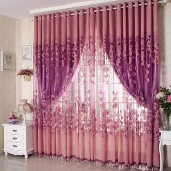 New Floral Tulle Room Door Blackout Window Curtain Drape Panel Sheer Scarf
