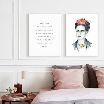 Cuadros frida Nordic Decoratio Wall Art Canvas Posters and Prints Animal Canvas Painting Picture for Living Room Self Portrait