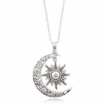 Newest Fashion Sun Moon Pendant Necklace Silver Crescent Moon