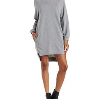 Gray E.SSUE Cut-Out High-Low Sweatshirt Dress by Charlotte Russe