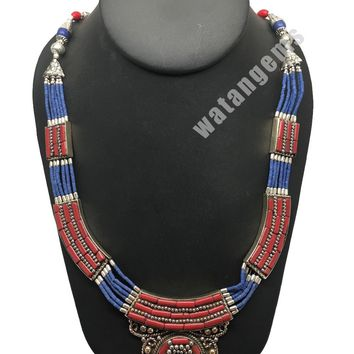 Ethnic Tribal Nepalese Lapis,Green Turquoise & Red Coral Inlay Statement Necklac