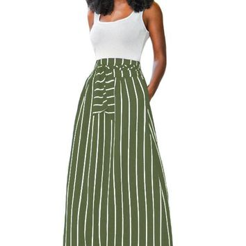 Olive Green Striped Maxi Skirt
