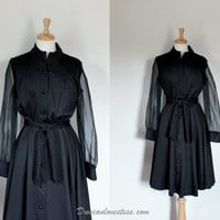 Vintage 60s Polyester Illusion Dress