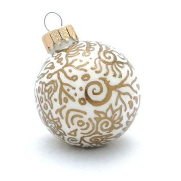 Glass Christmas Ball Ornament Painted Inside - Gold Zen Doodles Outside - OOAK Art Piece