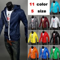 Color Zip Windbreaker Jacket with Hood