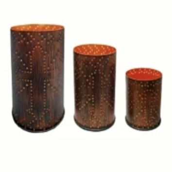 Cowgirl Kim 3pc. Distressed Metal Cylinder Candle holder