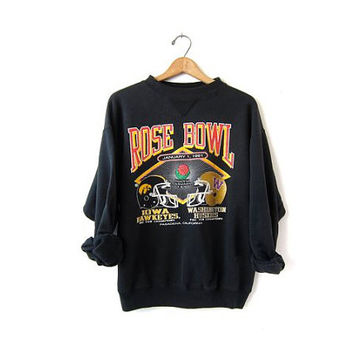 vintage Iowa Hawkeyes College Sweatshirt. Rose Bowl Sweatshirt. Football Coed Tomboy.