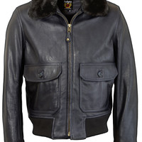 Naked Cowhide Leather Flight Jacket with Detachable Mouton Collar FLT6