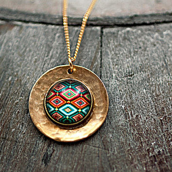 Sterling silver gold plated vermeil necklace with bright ethno patchwork motif on hammered disc.