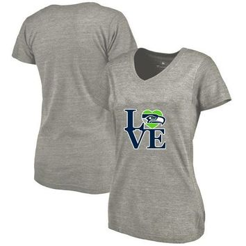 New Designs Seattle Leisure Fashion V-neck T Shirts, Seahawks Fans LOVE Logo Picture Printing Style High Quality Women's T-Shirt