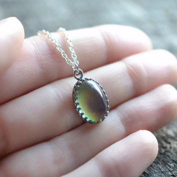 Sterling Silver Mood Stone Necklace