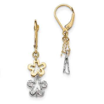 14k Two-tone Gold Flower Leverback Earrings