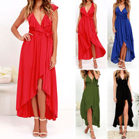 Chiffon Deep V-neck Sleeveless Irregular Long Dress