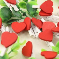 12Pcs Mini Love Heart Wooden Clothespin Office Supplies Craft Clips DIY Clothes  Paper Peg Clothespin