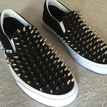Black Checkered Vans with Chrome Spikes